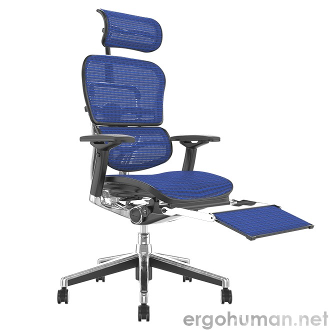 Ergohuman Elite Blue Mesh Office Chair with Leg Rest