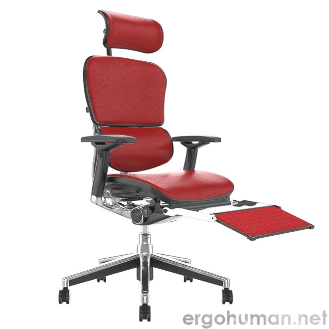 Ergohuman Red Leather Office Chair with Leg Rest